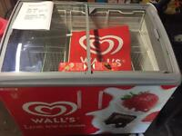 Walls ice cream freezer with advertising flags