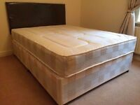 DOUBLE DIVAN BED BASE WITH MATTRESS NEAR NEW £80 PICK UP ONLY