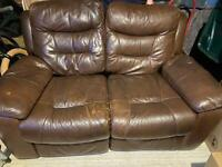 2 seater, chair, footstool- recliners leather