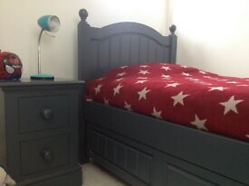 Single bed - Aspace with pull out storage drawer. Matching bedside table - grey