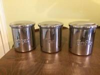 Tea, coffee, sugar caddy containers for Kitchen, stainless steel, set of 3