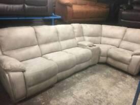 Harveys Ex display reclining cream Nubuck corner sofa