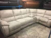Harveys Ex display electric reclining cream Nubuck corner sofa