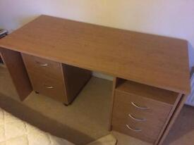 Desk with two drawer filing cabinet