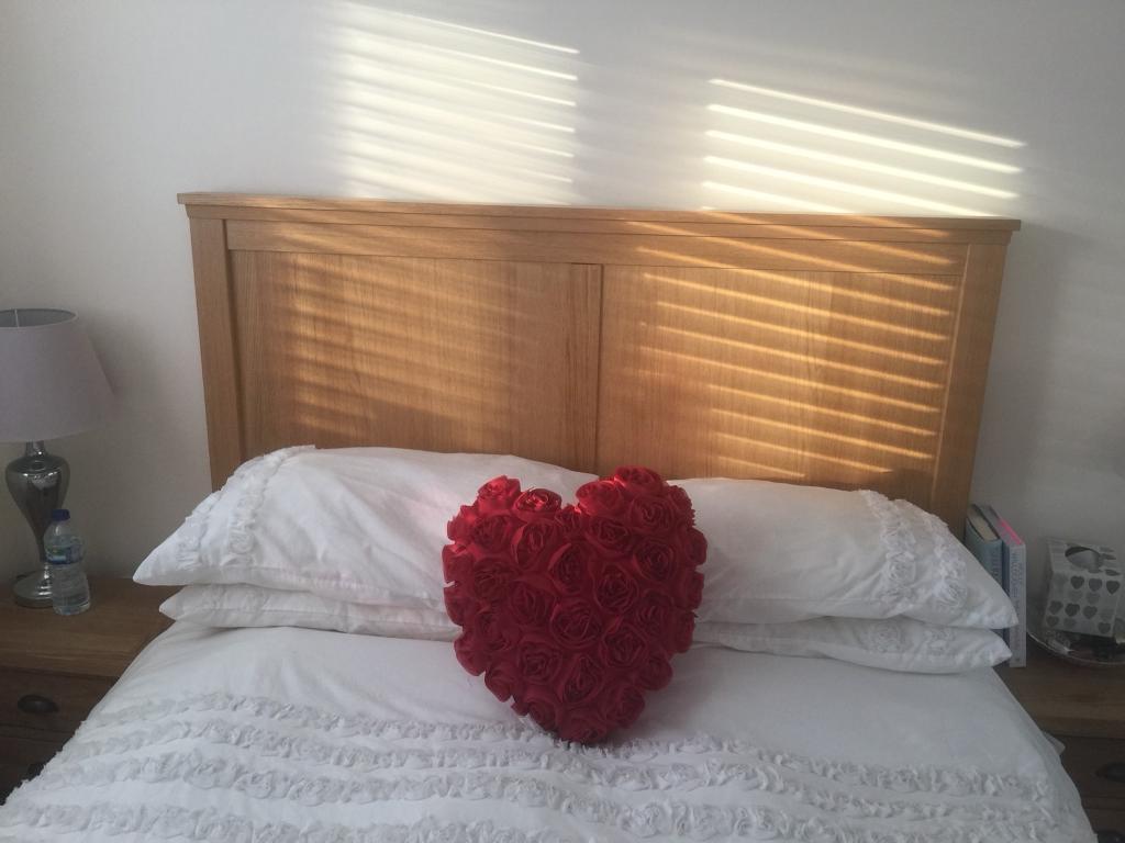 Oak effect double bed