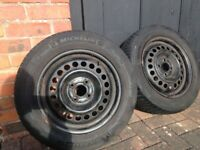 *REDUCED* 2 x MICHELIN ALPIN M+S Winter Tyres AND WHEELS. Jazz / Mini etc.
