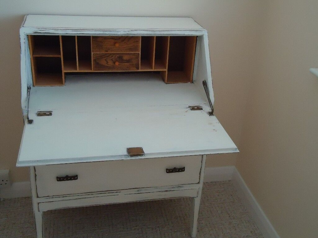 Solid Oak Bureau Writing Desk Shabby Chic Finish Computer Office Unit