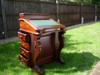 Victorian style Desk - Davenport in Mahogany with green leather trim