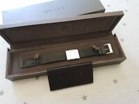 Gucci Ladies stainless steel watch, black fabric strap. Code 4900L