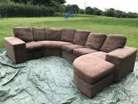 Brown corner sofa- can be adapted