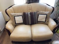 Two and three seats leather sofas