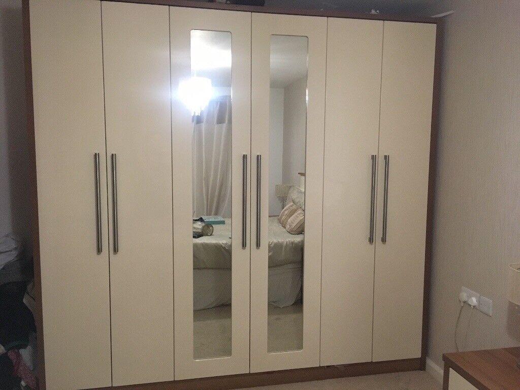 Starplan walnut and cream gloss bedroom set