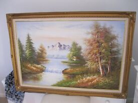 Canvas Oil Painting Scenic View Perfect condition 36'' x 24''