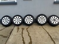 Audi A6 16 inch alloy wheels x 5 and good tyres 205/60/16