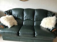 FREE Green Leather 3 piece suite. Buyer to collect. Fairly good condition.