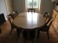 Solid oak antique dining/kitchen table and 6 antique chairs seats maximum 10 /12 people