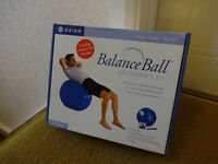 """Gaiam Balance Ball Kit with video and pump - boxed, as new. Large size for height 6'.0"""" - 6'.3"""""""