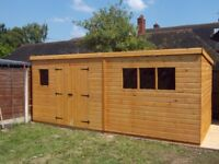 19 x 8FT LARGE PENT GARDEN SHED HEAVY DUTY SHIP LAP TIMBER DOUBLE DOORS FULLY ASSEMBLED BRAND NEW