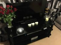 Black Glass Wide TV Stand - Excellent Condition