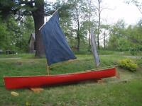 Sailing Canoe, Wood Laminate Construction, 16.5 ft.