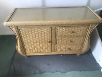 Handmade Wicker sideboard with glass top & matching Coffee table
