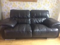 2 seater brown leather sofa (inc a free 2 seater)