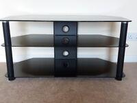 Black Glass Corner TV unit - 100cm x 45cm. Excellent condition.
