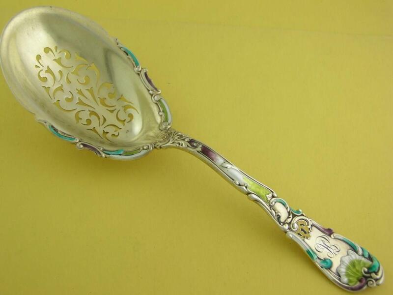 Wonderful Sterling & Enamel GORHAM Ice Serving Spoon HANOVER 1895 decorative