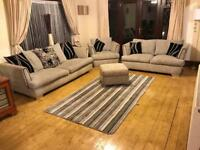 Dfs Grey and Black Fabric 3 Seater Sofa + 2 Seater Sofa Bed + Armchair + Footrest