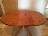 Pine folding kitchen table. 4 to 6 seater table.