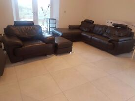 4 seater sofa with chaise longue + 1 seater sofa + storage foolstool