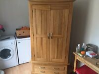 2 x Double Oak Wardrobes for sale as new, excellent condition.