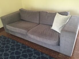 Large Grey 3 Seater Sofa in Brushed Cotton