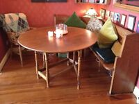 PEW AND TABLE Church corner pew, solid honey oak and matching honey oak gate leg table seats 6-8
