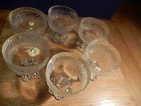 Set of dessert glass dishes