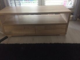Wooden tv unit in oak two drawers and a shelf