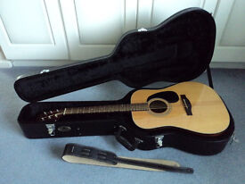 FARIDA D-10N Acoustic Guitar with Hard Case and Fender Strap IMMACULATE New Martin strings