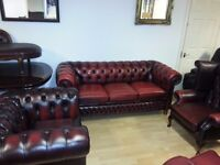 3 piece ox blood leather chesterfield. club chair. high back chair. and lovely large three setter