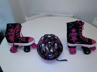 Girls roller skates size 3 + helmet