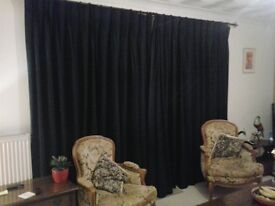 Full length Navy Blue lined curtains
