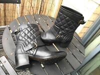 100% Genuine Clarks Black Leather Boots - size 6.5