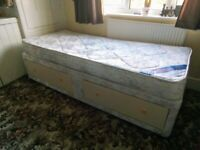 Single divan bed with mattress and drawers