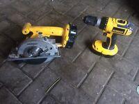 Dewalt 18v drill & circular saw .... good condition ,2 battery