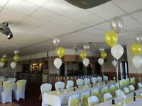 Chair covers, tablecloths, party balloons, favours, party bags, centrepieces. Pubs & club decor