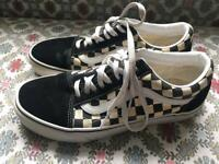 Pair of size 7 Vans in checkerboard pattern