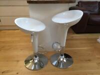 2 x White bar stools