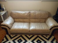 2 3-seater leather sofas in tan/brown (cappuccino)