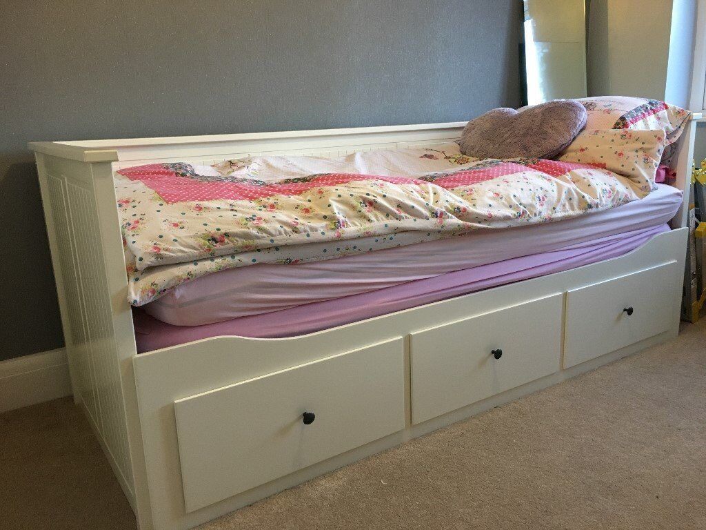 childrens day bed. IKEA HEMNES Childrens Day-Bed With Drawers \u0026 2 Mattressess Day Bed