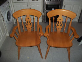 2 fiddle back carver chairs