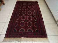 Hand Made Persian Turkoman Oriental Red Wool Rug